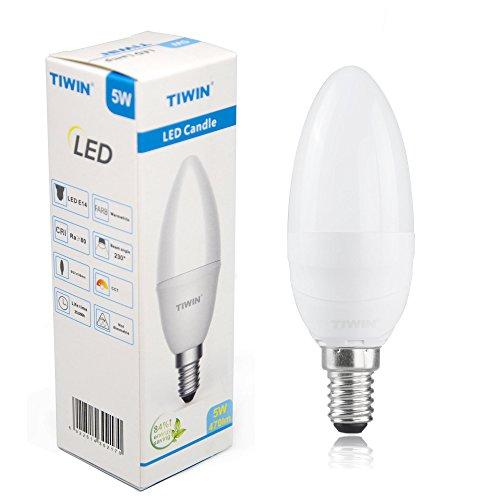 NEUE Generation TIWIN® 5W E14 LED Kerze Lampe Strahler KALTWEISS A+ /ersetzt ca. 40W /470 Lumen /5700K /230 Grad /SMD 2835 [Energieklasse A+]