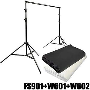 Hintergrundsystem Fotostudio Aluminium DynaSun FS901 + 2x Stoff Hintergrund 3x6mt Weiss und Schwarz
