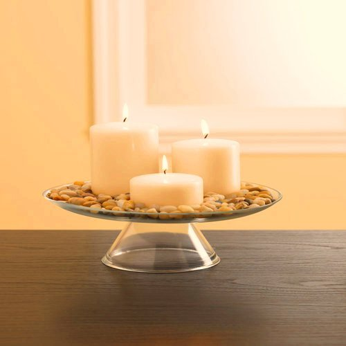 Set of 3 Vanilla Woods Scented Pillar Candles 2x3 3x3 3x4 with Nice Decorative Rocks and Glass Holder Included