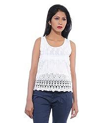 Avakasa Polyester White Embroidered Partywear Sleeveless Sleeves Top (top-22-white)