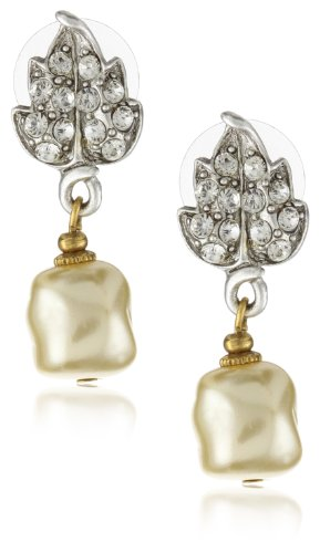 Antiquities Couture Swarovski Crystal Faux Pearl Drop Earrings