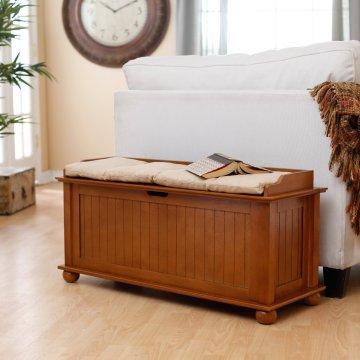 Vintage Pecan Wood Furniture Flip Top Storage Bench Perfect for Hallway Entryway Mudroom or Bedroom Beige