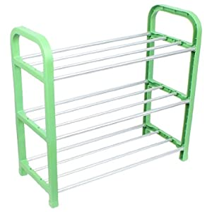 Amico Green Plastic Stand Silver Tone Metal Tube 3 Tier Shoes Rack at Sears.com