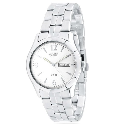 Citizen Quartz Day Date Silver Tone Dial Men'S Watch - Bk3830-51A