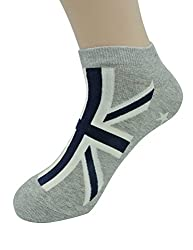 Milo Toe Men's 6-Pack Cotton British Flag No Show Ankle Socks