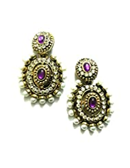 Ethnic Fashion Earrings With Pearl And Coloured Crystals In Gold Finish, Purple
