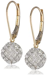 10k Yellow Gold Diamond Drop Earrings (1/2 cttw, I-J Color, I2-I3 Clarity)