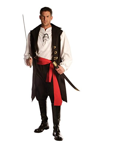 Underwraps Mens Pirate Buccaneer Captain Cutthroat Theme Party Costume