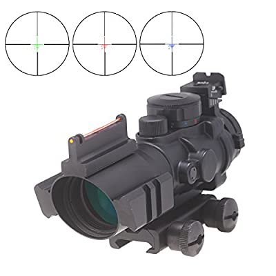 Pinty 4X32 Tactical Rifle Scope with Top Fiber Optic Sight Red-Green-Blue Trip Illuminated BDC Reticle by Pinty