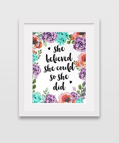 she-believed-she-could-so-she-did-art-watercolour-floral-art-inspirational-quote-8-x-10-inches