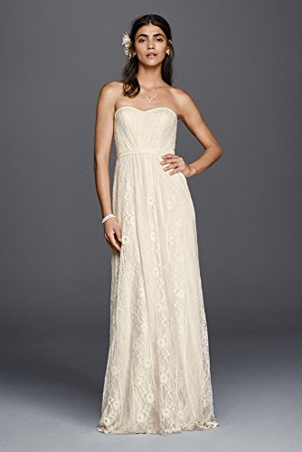 372540d39082b Galina Strapless Linear Lace Sheath Wedding Dress Style WG3782, Ivory, 14