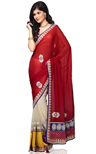 Amyra by ODHNI Red Gold Georgette Saree (multicolor)