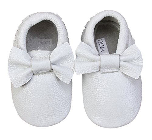 Bow Leather Baby Moccasins for Boy Girl Infant Toddler Pre-walker Crib Shoe (XXS (4.3 inches), White)