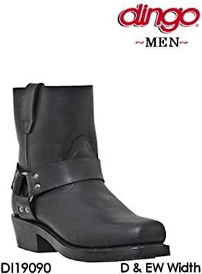 Dingo Boots Rev Up Short Leather Zipper Harness DI19090 Mens Black