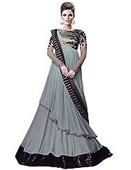 New Grey And Black Designer Anarkali Style Suit
