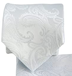White Paisley Necktie and Pocket Square Set