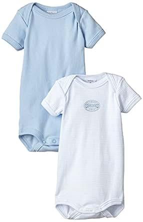 Petit Bateau - Body - Col ras du cou - Manches courtes - Lot de 2 - Bébé garçon - Multicolore - FR : 1 mois (Taille fabricant : 1 mois)