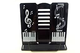 FunMusic Bookend - 6 Adjustable Angles Black Table Book Stand