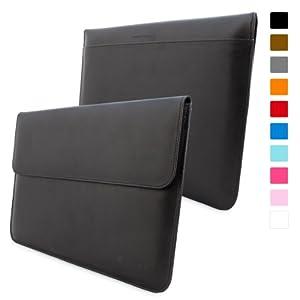 Estuche de cuero para Macbook Air 13 & Pro 13 retina de Snugg en Negro - Una funda de alta calidad con una ranura para tarjetas, bolsillo y un interior de fibra Nubuck de alta calidad.
