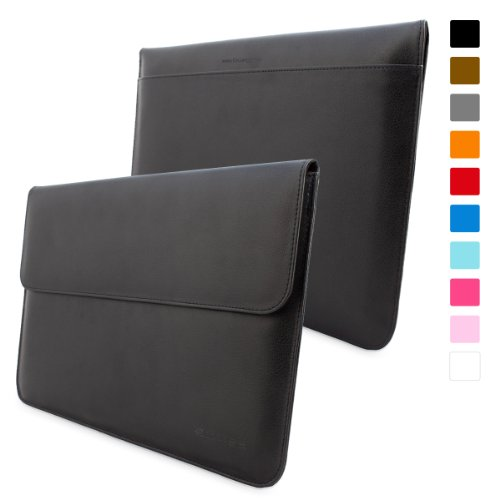 Snugg Macbook Pro Retina 15-Inch Leather Sleeve Case In Black - High Quality Case With Card Slot, Pocket And Premium Nubuck Fibre Interior