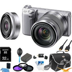 Sony NEX-5RK/S Compact Camera with 18-55 Lens (Silver) and SEL 16mm f2.8 Lens
