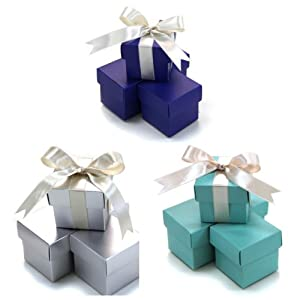 Koyal Wholesale Christmas Crafts 2-Piece 30-Pack Square Gift Favor Boxes Christmas Holiday Party Supplies, Diamond Blue/Royal Blue/Silver