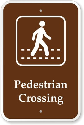 "Pedestrian Crossing (With Graphic) Sign, 18"" X 12"""