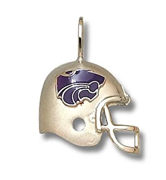 Kansas State Wildcats Enamel Power Cat Helmet Pendant - 10KT Gold Jewelry by Logo Art