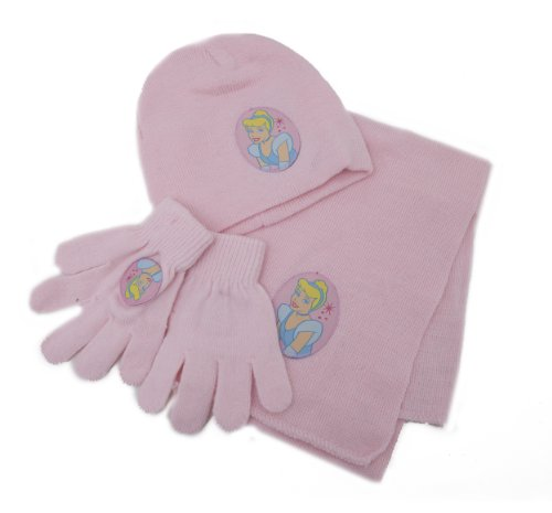 Childrens/Kids Girls Disney Princess Winter Hat, Gloves, Scarf Set (Baby Pink)