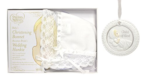 "Bundle of Precious Moments Baby Christening Bonnet / Wedding Hankie and 3.75"" Baptism Cradle Medal - Child of God - 1"