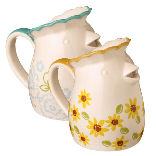 Grasslands Road Ceramic Spring Meadow Hen Pitcher And Creamer Assortment, 4-Inch, Set Of 6
