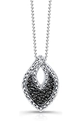 Victoria Kay 1/5ct Black and White Diamond Pendant in Sterling Silver with Black Rhodium Plating