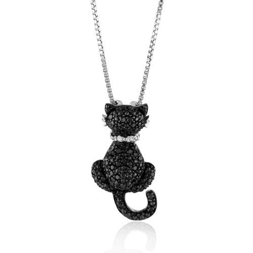 Sterling Silver White and Treated Black Diamond Cat Pendant with 18