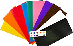 1/4 .25 Inch Color Coding Labels on Sheets Assortment Pack 960 Stickers Yellow Orange Red Blue Green Pink Purple Brown White Black 96 labels per color
