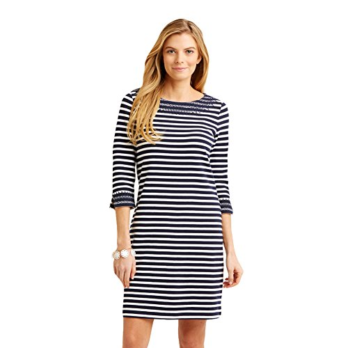 New Vineyard Vines Embroidered Boatneck Nautical Navy L Womens Dress Nautical Stripe Dress