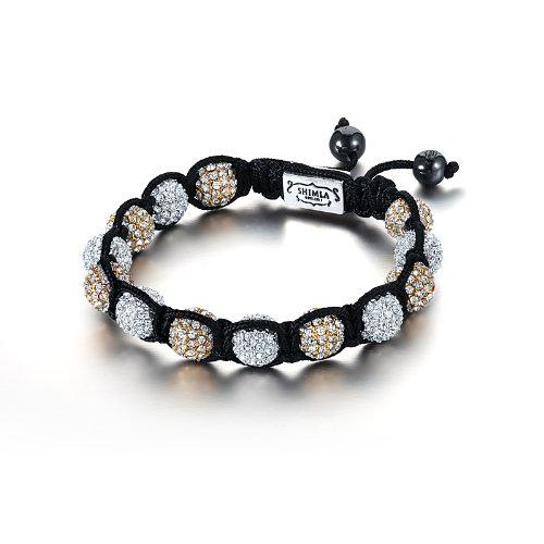 Shimla SH 026 Silver and Gold Plated White Czech Crystal Beads Bracelet of Length 7cm - 12cm