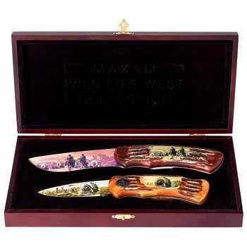 2Pc Wild West Lockback Knife Set