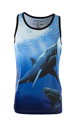 Men's Sublimation Summer Slim Fit Tank Top Swimming Sharks Medium (Gym Shark Tank Top compare prices)