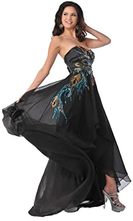 Meier 5846 Women's Strapless Peacock Embroidery Chiffon Formal Gown (4)