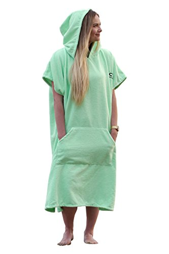 COR Surfing Changing Towel Robe With Hood | Light Green | One Size Fits All | Great for changing out of your Wetsuit (Hooded Towel Adult compare prices)