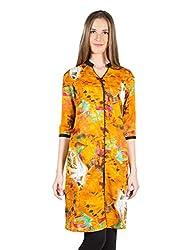 Panit Women's Cotton Kurta (PANI011A_Yellow_Medium)