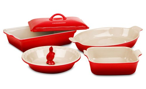 Le Creuset Stoneware 6-Piece Cherry Red Heritage Bakeware Set