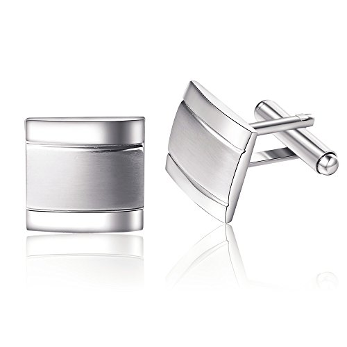 Orso da uomo in acciaio inox con argento quadrato Business Gemelli da matrimonio regalo