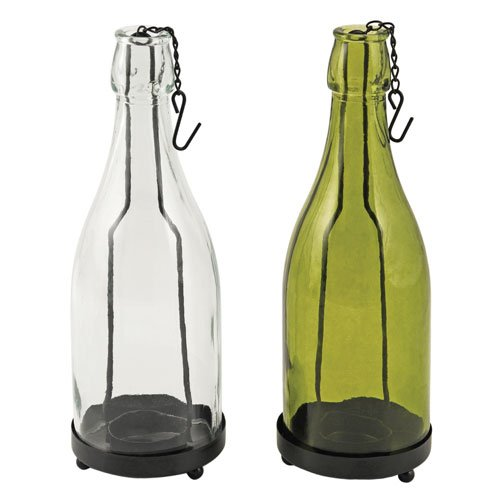 TF Hanging Glass Wine Bottle Candle Holder