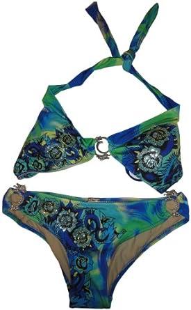 Women's Ed Hardy Swimwear Bathing Suit 2 Pc. Bikini Halter Brazilian Blue (Large)