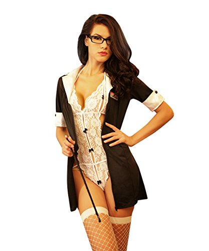 [Candygirl Womens Sexy Teacher Outfit Lingerie Role Play Uniform Set with Stocking] (Costumes For Teachers)