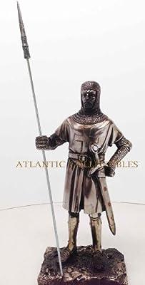 "Medieval Knight 7""h Crusader Pikeman Sentry Statue Figurine Suit Of Armor"