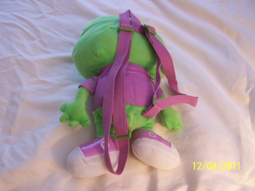 Plush Peace Frog Backpack with Zippered Back Pocket