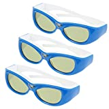 3X Excelvan Super universal Kids DLP Link 3D Active Shutter Glasses for Optama, Acer, BenQ, NEC, ViewSonic, Sharp, Dell-Blue