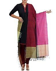 Unnati Silks Women Pink-Multicolor Pure Handloom Andhra Khadi Cotton dupatta